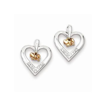 Sterling Silver Rhodium 14k Rose Gold Butterfly Diamond Heart Earrings