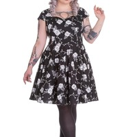 Hell Bunny Plus Size Rockabilly Death Do Us Part White Rose Black Flare Party Dress