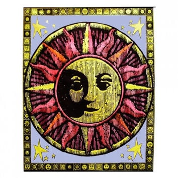 Aztec Sun Blacklight Tapestry Cloth Wall Hanging