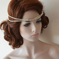 Wedding  Pearl Headband, Bridal Halo, Wedding Halo, Bohemian Bridal Headpiece, Bridal Hair Accessories,  Wedding Hair Accessories