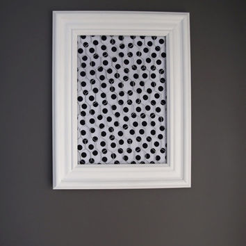 White Framed Chicken Wire Organizer / Memo Board / Jewelry Hanger / Black & White Polka dots