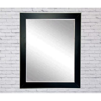 "Brandt Works Silver Accent Black Wall Mirror BM011M2 32""x36"""