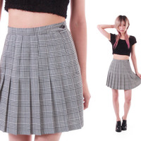 90s Plaid High Waist Pleated Mini Skirt Black and White Preppy Schoolgirl Goth Lolita 1990's Vintage Clothing Womens Size XS Small