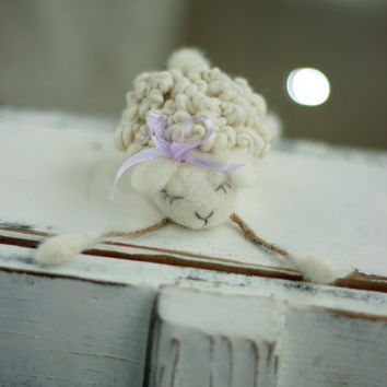 Dreamy White Baby Sheep With A Ribbon - Needle Felted Art Doll