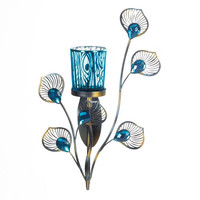 Peacock Feather Plumes Turquoise Blue Single Candle Holder Wall Sconce