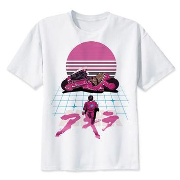 Akira Synthwave T Shirt anime t-shirt Summer fashion tshirt casual white print for male comfortable men top tees MR2300