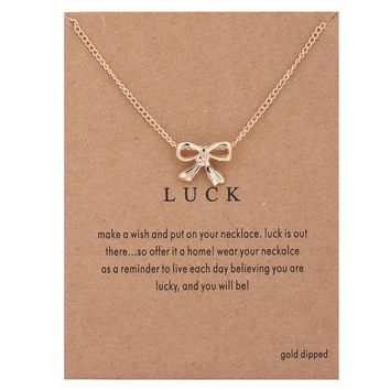 Bowknot Card Alloy Clavicle Pendant Necklace   171211