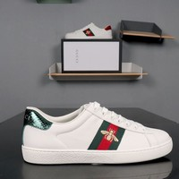 GUCCI Ace Embroidered White Leather Sneakers - Best Deal Online