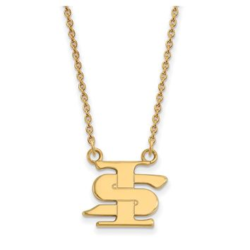 NCAA 14k Gold Plated Silver Indiana State Small Pendant Necklace