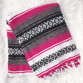 Authentic Mexican Blanket in Hot Pink
