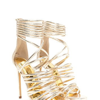 Elevated Life Caged Metallic Heels