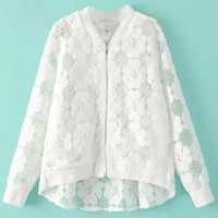 Floral Mesh Long Sleeve High Low Coat