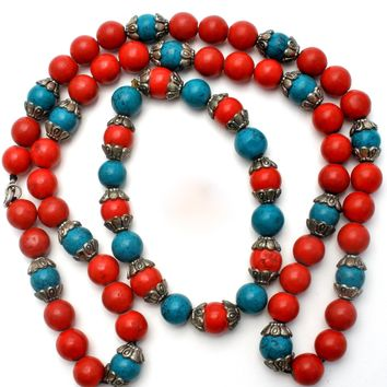 Turquoise & Coral Bead Necklace Set