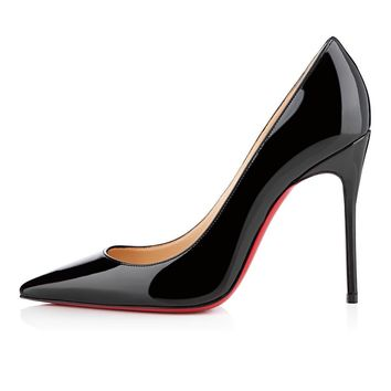christian louboutin cl decollete 554 black patent leather 100mm stiletto heel classic