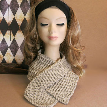 Neckwarmer, Knitted Neck Warmer, Chunky Knit Scarf, Camel, Cowl Winter Scarf, Wool, Neck Shawl, Nchanted Gifts, Australia