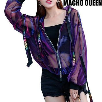 Summer Rave Festival Wear Clothes Holographic Womens Hoodies Outfits Hologram Women Rainbow Metal Mesh Jacket Clothings