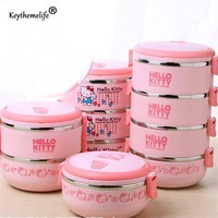 Hello kitty/Deraemon Multilayer Lunch Boxs Thermo Food containers Kids Portable Thermal Bento Lunchbox PP+304 Stainless Steel 2D