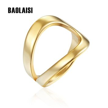 BAOLAISI Simple Summer Water Drop Shape Ring Wire Wrap Surf Rings For Women Stainless Steel Jewelry Birthday Party Gifts