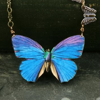 Butterfly Necklace Blue Butterfly Necklace Blue Morpho Butterfly Necklace Woodland Necklace Purple Brass Vintage Style