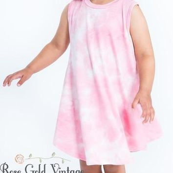Tie Dye Tunic Dress with Pockets - Pink (Toddler)