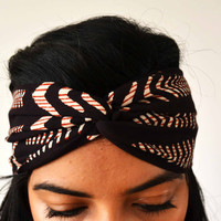 Illusion Waves Turban Headband Head Wrap  - Hand block printed, All Natural Vegetable Dyes, 100% Cotton Bohemian head band