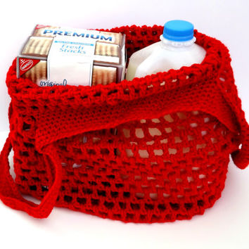 Reusable Grocery Bag - Red Market Tote - Farmer's Market Tote Bag - Beach Bag - Grocery Tote - activity bag - super stretchy bag
