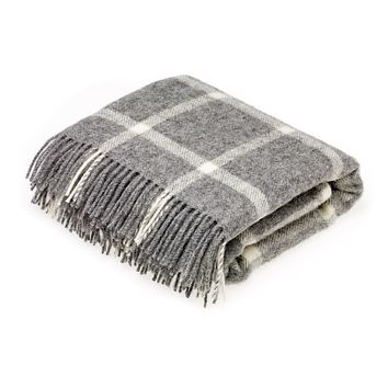 Natural Collection Pure New Wool Grey Windowpane Throw Blanket