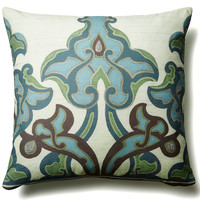 Persian Frieze 20x20 Cotton Pillow, Blue, Decorative Pillows