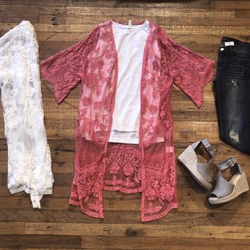 452fedb55 Sammy Lace Duster Kimono in White and Berry