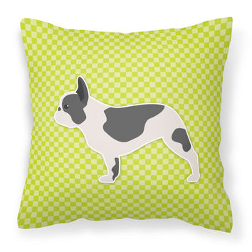 French Bulldog Checkerboard Green Fabric Decorative Pillow BB3841PW1818