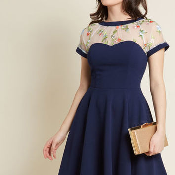 Telling Twirl Embroidered Dress