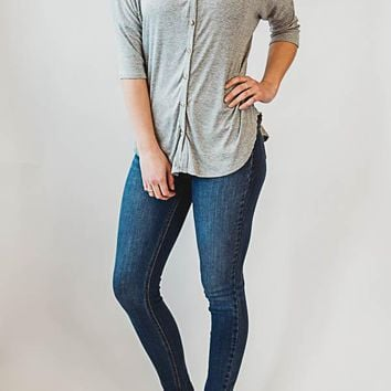 Dolman Sleeve Button Top - Gray