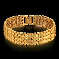 Men's Chain Bracelet Gifts Gold Color Chain Link Bracelets For Men/Women Length 20 CM Thick Link Jewelry Male Star Pulseras