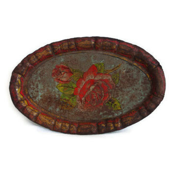Old rusty beauty Vintage mini metal tray lithohraphed ROSE flower PICTURE - Rustic distressed metal - Weathered houseware - Industrial decor