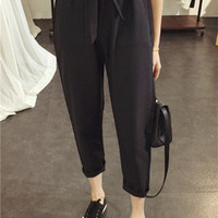 Black High Waisted Trousers with Bow Belt
