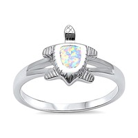 Sterling Silver White Created White Opal Small Turtle Ring
