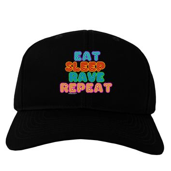 Eat Sleep Rave Repeat Hypnotic Adult Dark Baseball Cap Hat by TooLoud