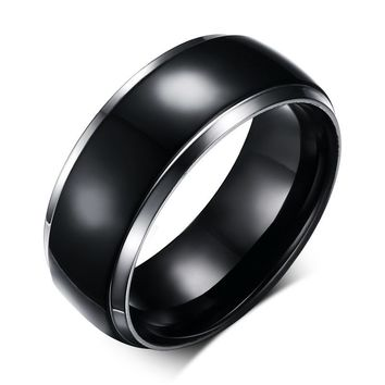 Men's Dome Black IP Center Two Tone Solid Titanium Promise Ring for Male Wedding Engagement Band Jewelry