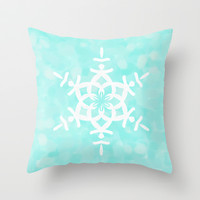 Snowflake Aqua Blue Throw Pillow by Lisa Argyropoulos