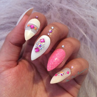 Hand painted ~ Press on nails ~ Pink nails ~ False nails ~ Stiletto nails ~ Stiletto false nails ~ Long nails ~ Acrylic nails ~ Fake nails
