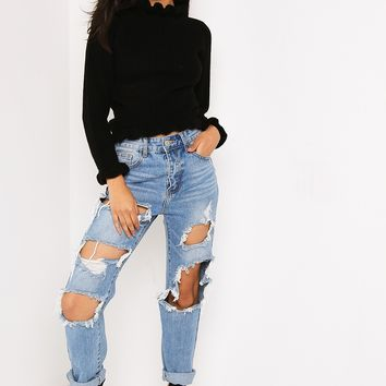 BLACK FRILL NECK CROPPED JUMPER