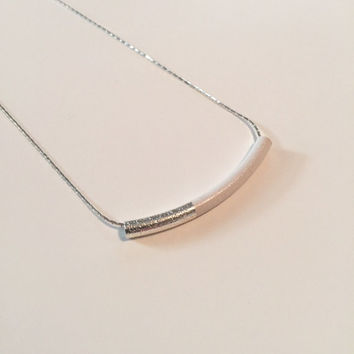 Silver & White, Tube Bead, Color Block Necklace