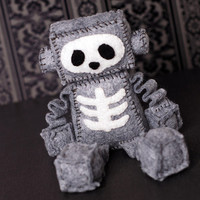 Skeleton Felt Robot Plush with Skull and Ribs, Halloween, Goth, Punk