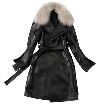 Trench Coat Women Plus Size Long Coats Ladies Sheepskin Genuine Leather Jacket Fox Collar Winter 2018 Black Trench Coats Female