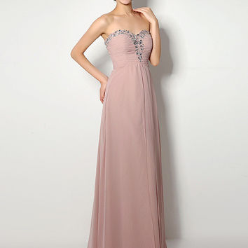 Purple Beaded Sweetheart Neckline Ruched Empire Maxi Dress
