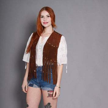 60s FRINGE Leather VEST / 1960s Studded Brown SUEDE Fringed Boho Vest