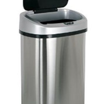 BestOffice Infrared Touchless Stainless Steel Trash Can, 13.2-Gallon