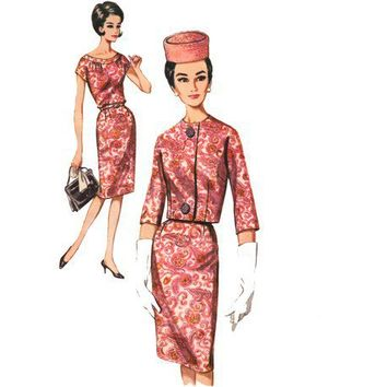 Vintage 1960s Sewing Pattern Wiggle Shift Dress Jacket bust 34 Medium
