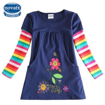 Novatx girls dress floral kids dresses for girls embroidery flower spring autumn children clothes trolls wedding vestidos H5802