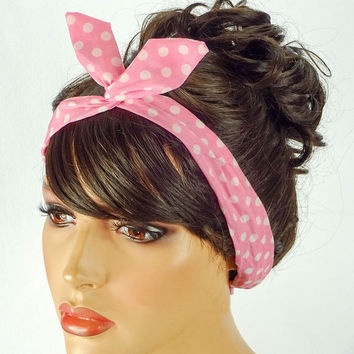 Dolly Bow Wire Headband Bandana Pin Up Hair Accessories Rosie the Riveter  Pink White Polkadots Dolly efd35b6d195